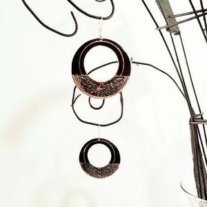 Black and Silver Plated Boho Hoop Drop Earrings